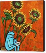 Frog I Padding Amongst Sunflowers Canvas Print by Xueling Zou