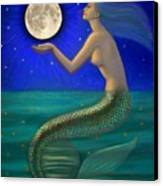 Full Moon Mermaid Canvas Print by Sue Halstenberg