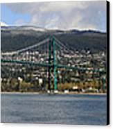 Full View Of The Lion's Gate Bridge Vancouver City  Canvas Print by Pierre Leclerc Photography