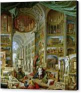 Gallery Of Views Of Ancient Rome Canvas Print by Giovanni Paolo Pannini