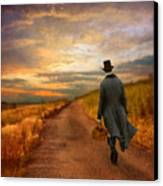 Gentleman Walking On Rural Road Canvas Print by Jill Battaglia