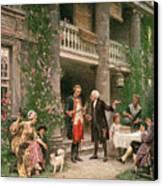 George Washington At Bartrams Garden Canvas Print by Jean Leon Jerome Ferris