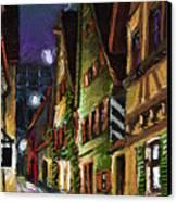 Germany Ulm Old Street Night Moon Canvas Print by Yuriy  Shevchuk