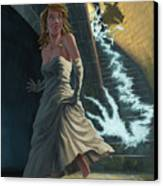 Ghost Chasing Princess In Dark Dungeon Canvas Print by Martin Davey
