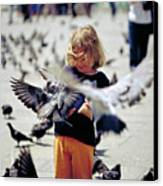 Girl With Pigeons Canvas Print by Heiko Koehrer-Wagner