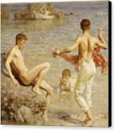 Gleaming Waters Canvas Print by Henry Scott Tuke