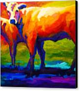 Golden Beauty - Cow And Calf Canvas Print by Marion Rose