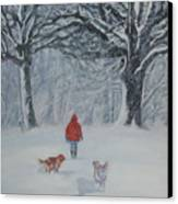 Golden Retriever Winter Walk Canvas Print by Lee Ann Shepard