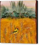 Goldfinch In The Wheat Canvas Print by Carolyn Doe