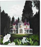 Gothic Country House Detail From Night Bridge Canvas Print by Melissa A Benson