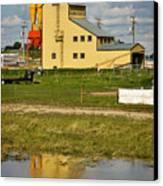 Grain Elevator In Balzac Alberta Canvas Print by Louise Heusinkveld