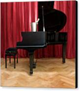 Grand Piano With A Champagne Cooler Canvas Print by Corepics