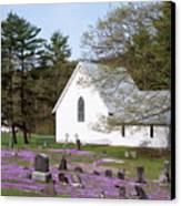 Graveyard Phlox Country Church Canvas Print by John Stephens
