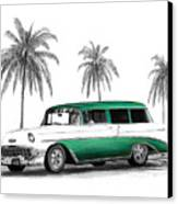 Green 56 Chevy Wagon Canvas Print by Peter Piatt
