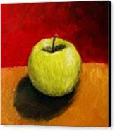 Green Apple With Red And Gold Canvas Print by Michelle Calkins