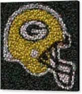 Green Bay Packers Bottle Cap Mosaic Canvas Print by Paul Van Scott