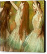 Green Dancers Canvas Print by Edgar Degas