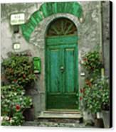 Green Door Canvas Print by Karen Lewis