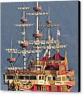 Hakone Sightseeing Cruise Ship Sailing On Lake Ashi Hakone Japan Canvas Print by Andy Smy