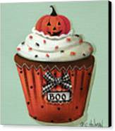 Halloween Pumpkin Cupcake Canvas Print by Catherine Holman