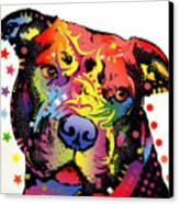 Happiness Pitbull Warrior Canvas Print by Dean Russo