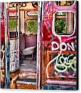 Haunted Graffiti Art Bus Canvas Print by Susan Candelario