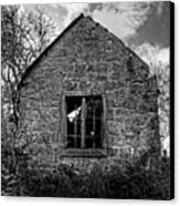 Haunted House In Black And White Canvas Print by Chris Smith