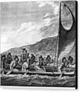 Hawaii: Canoe, 1779 Canvas Print by Granger