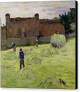 Haymaking In Brittany Canvas Print by Paul Gauguin
