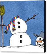 Headless Snowman Canvas Print by Nancy Mueller