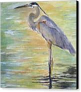 Heron At The Lagoon Canvas Print by Patricia Pushaw