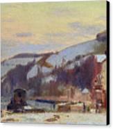 Hillside At Croisset Under Snow Canvas Print by Joseph Delattre