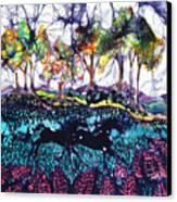 Horses Running Below Hills Canvas Print by Carol  Law Conklin