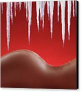 Hot Naked Woman Body Under Melting Icicles Canvas Print by Oleksiy Maksymenko