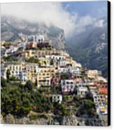 Houses Built On A Hillside Positano Italy Canvas Print by George Oze