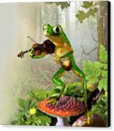 Humorous Tree Frog Playing A Fiddle Canvas Print by Regina Femrite