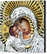 Icon Of The Bl Virgin Mary W Christ Child Canvas Print by Jake Hartz