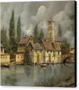 Il Borgo Sul Fiume Canvas Print by Guido Borelli