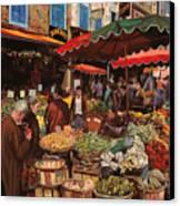 Il Mercato Di Quartiere Canvas Print by Guido Borelli
