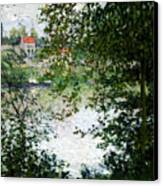 Ile De La Grande Jatte Through The Trees Canvas Print by Claude Monet