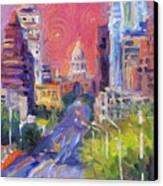 Impressionistic Downtown Austin City Painting Canvas Print by Svetlana Novikova