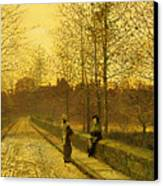 In The Golden Gloaming Canvas Print by John Atkinson Grimshaw