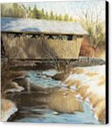Indian Creek Covered Bridge Canvas Print by James Clewell