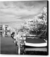 Infrared Boats At Lbi Bw Canvas Print by John Rizzuto