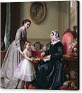 Interior At 'the Chestnuts' Wimbledon Grandmother's Birthday Canvas Print by J L Dyckmans