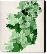 Ireland Watercolor Map Canvas Print by Michael Tompsett