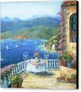 Italian Lunch On The Terrace Canvas Print by Marilyn Dunlap