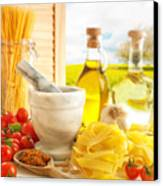 Italian Pasta In Country Kitchen Canvas Print by Amanda And Christopher Elwell