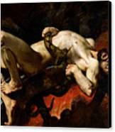 Ixion Thrown Into Hades Canvas Print by Jules Elie Delaunay