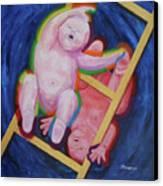 Jacob And Essau-yin Yang Canvas Print by Mordecai Colodner